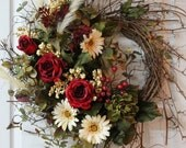 Front Door Twig Wreath, Red Roses, Daisies, Peony, Feathers, Berries, Great Gift -- FREE SHIPPING