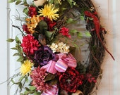 Unique Red Lizard For Your Front Door, Wild Flowers, Colorful Country Wreath........One Of A Kind Wreath-- FREE SHIPPING