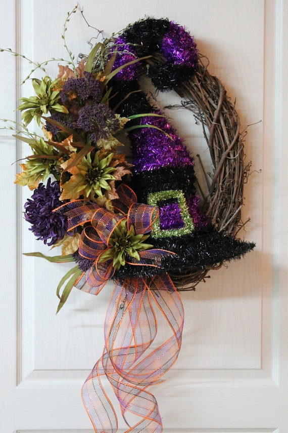 Items Similar To Halloween Front Door Wreath Unique Witch
