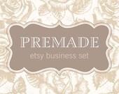 Premade Etsy Shop Banner Avatar Set - 8 Pieces - Rose Toile Elegant Design