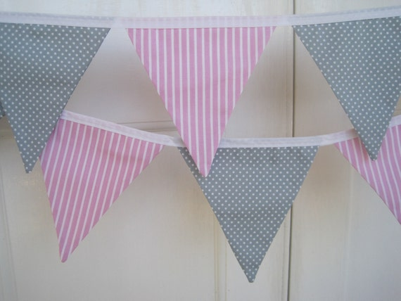 Pink Stripe & Grey with White Polka Dot Fabric Bunting - 14 Flags (Baby Elephant)