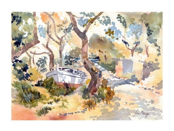 Watercolour print 'Boat in an olive grove near Loggos Paxos Greece' A3 size print.