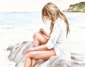 FOR LINA Missing You print from an original color pencil drawing by Irene Owens