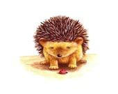 Hedgehog Art, Little Hedgehog and Ladybird, Art for Nursery, Baby Gift, Newborn Art, Unisex Nursery Art, Watercolor Print, Animal Print