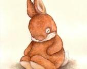 Nursery Art Print, Sleepy Ginger Bunny, Bunny Art, Nursery Decor, Watercolor Print, Baby Gift, Newborn Art, Picture for Baby, Kid's Wall Art