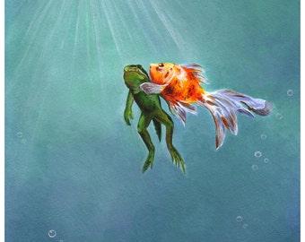 Frog and Goldfish, Art Print, Watercolor Art, Wall Art, Bedroom Decor, Kids Bedroom Art, Whimsical Art, Home Decor,