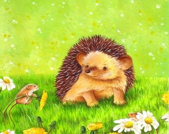 Nursery Art Hedgehog and Field Mouse