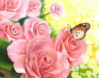 Pink Roses Art Print from an original acrylic painting by Irene Owens