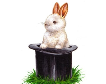 Bunny Nursery Art Bunny in a Magician's Hat
