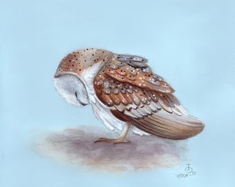 Owl Art, Nursery Art, Sleepy Barn Owl, Newborn Art, Nursery Decor, Unisex Nursery Art, Baby Gift, Watercolor Print, Kid's Wall Art