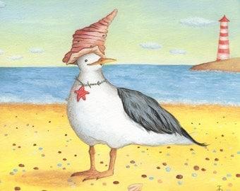 Art for Nursery Fancy Gull print from an original acrylic illustration