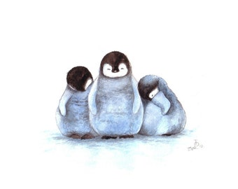 Nursery Art  - Sleepy Penguins Art Print