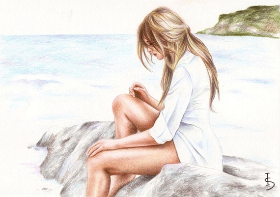 Missing You print from an original color pencil drawing by Irene Owens