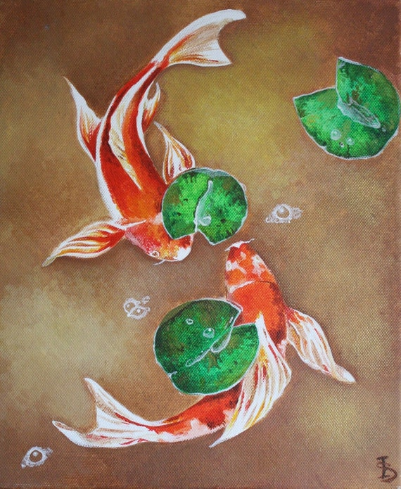 Items similar to koi fish original acrylic painting on for Original koi fish