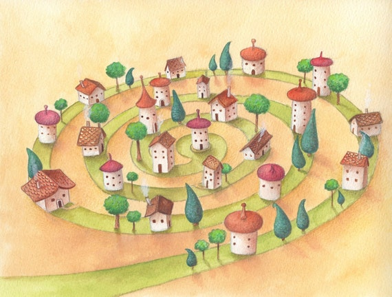 Nursery Art, Round and Round, Spiral Street, Cute Houses