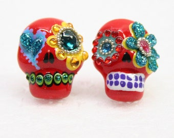 Skull in a-day is the day of the dead earrings E0006