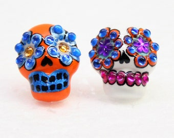 Skull in a-day is the day of the dead earrings E0008