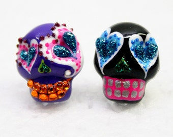 Skull in a-day is the day of the dead earrings E0013