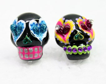 Skull in a-day is the day of the dead earrings E0014