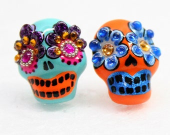 Skull in a-day is the day of the dead earrings E0016