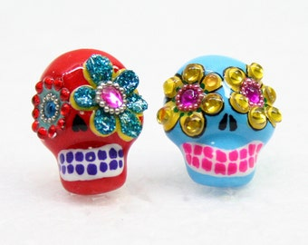 Skull in a-day is the day of the dead earrings E0022
