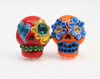 Skull in a-day is the day of the dead earrings E0027