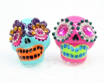 Skull in a-day is the day of the dead earrings E0034