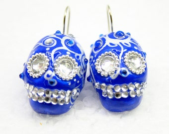Skull in a-day is the day of the dead earrings EP0004