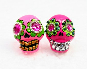 Skull in a-day is the day of the dead earrings E0050