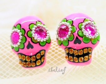 Skull in a-day is the day of the dead lady pink earrings E0043