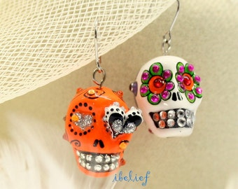Skull in a-day is the day of the dead earrings stone ES0022