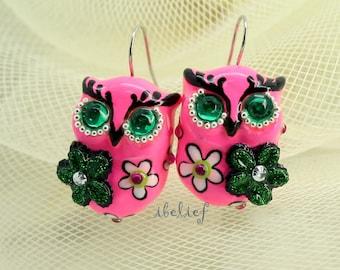OWL NIGHT of handmade is flower on pink owl earrings EW0006