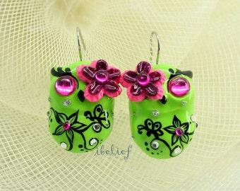 OWL NIGHT of handmade is owl green earrings EW0011