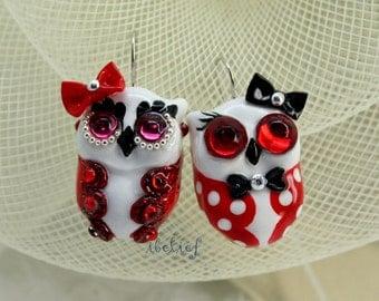 OWL earrings handmade from polymer clay EW0013