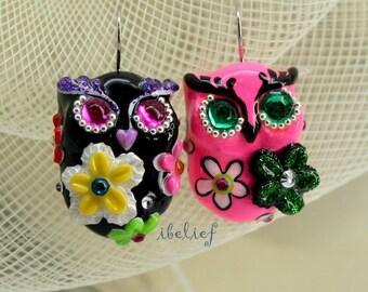 OWL earrings handmade from polymer clay EW0018