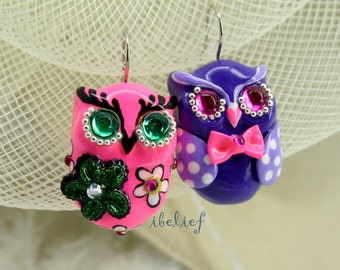 OWL earrings handmade from polymer clay EW0021