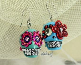 Skull in a-day is the day of the dead earrings stone ES0032