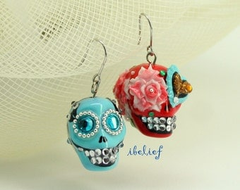 Skull in a-day is the day of the dead earrings stone ES0033