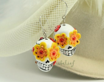 Skull in a-day is the day of the dead yellow flower earrings stone ES0037