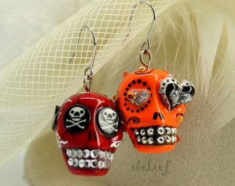 Skull in a-day is the day of the dead earrings stone ES0046