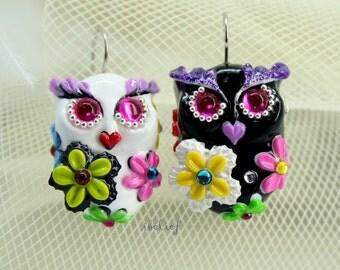 OWL NIGHT of handmade owls earrings EW0031