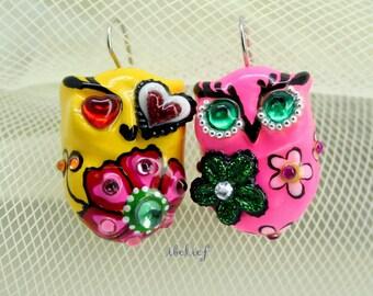 OWL NIGHT of handmade owls earrings EW0033