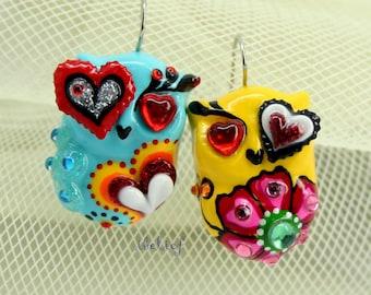 OWL NIGHT of handmade owls earrings EW0038