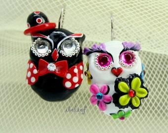 OWL NIGHT of handmade owls earrings EW0041