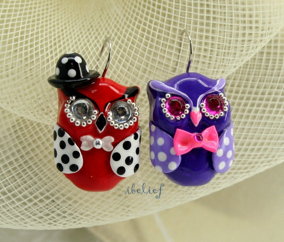 OWL earrings handmade from polymer clay EW0014