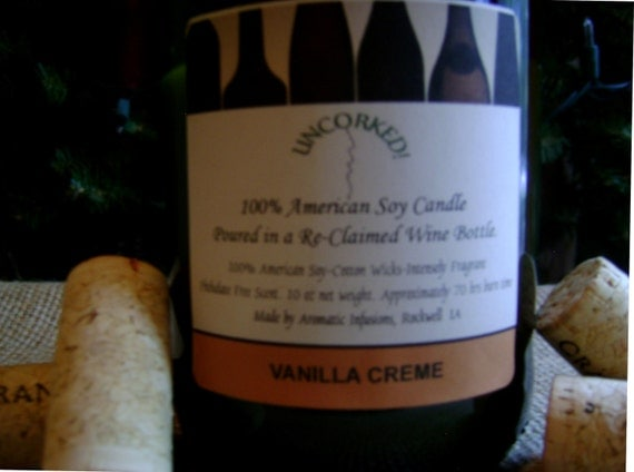 UnCorked Soy Candle in a Re-Cycled Wine Bottle-Vanilla Creme