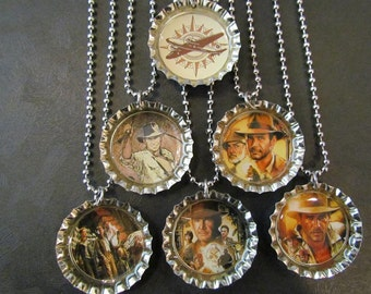 Indiana Jones  /   Bottle Cap Party favors (6) / add more for 2 dollars each