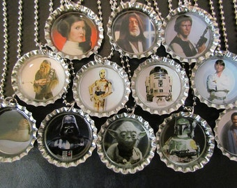 Star Wars  Bottle Cap Party favors (12)  / additional necklaces 2 dollars each / Your choice of images / other images available