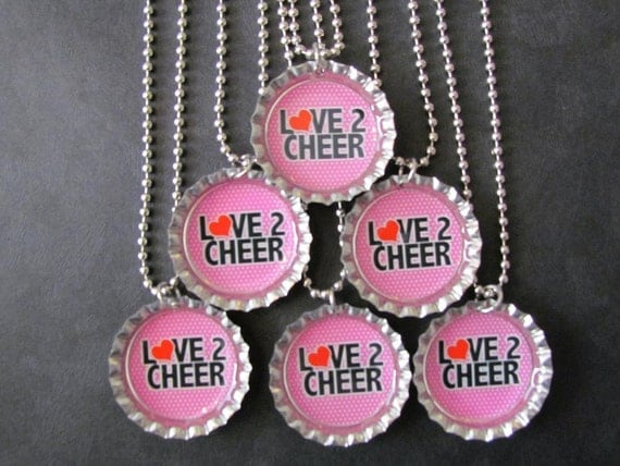 Love 2 Cheer Bottle Cap Party favors (6)  add on more for 2 dollars each