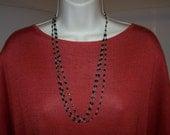 ANTIQUE NECKLACE black ONYX  triple strand - vintage-1900's